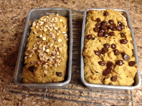 Pumpkin, Peanut Butter, Chocolate Chip Quick Bread