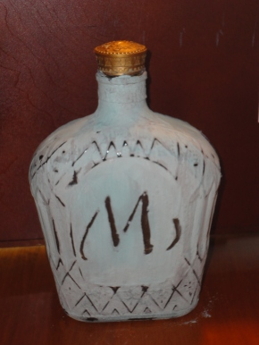 Crown Royal bottle with chalk paint