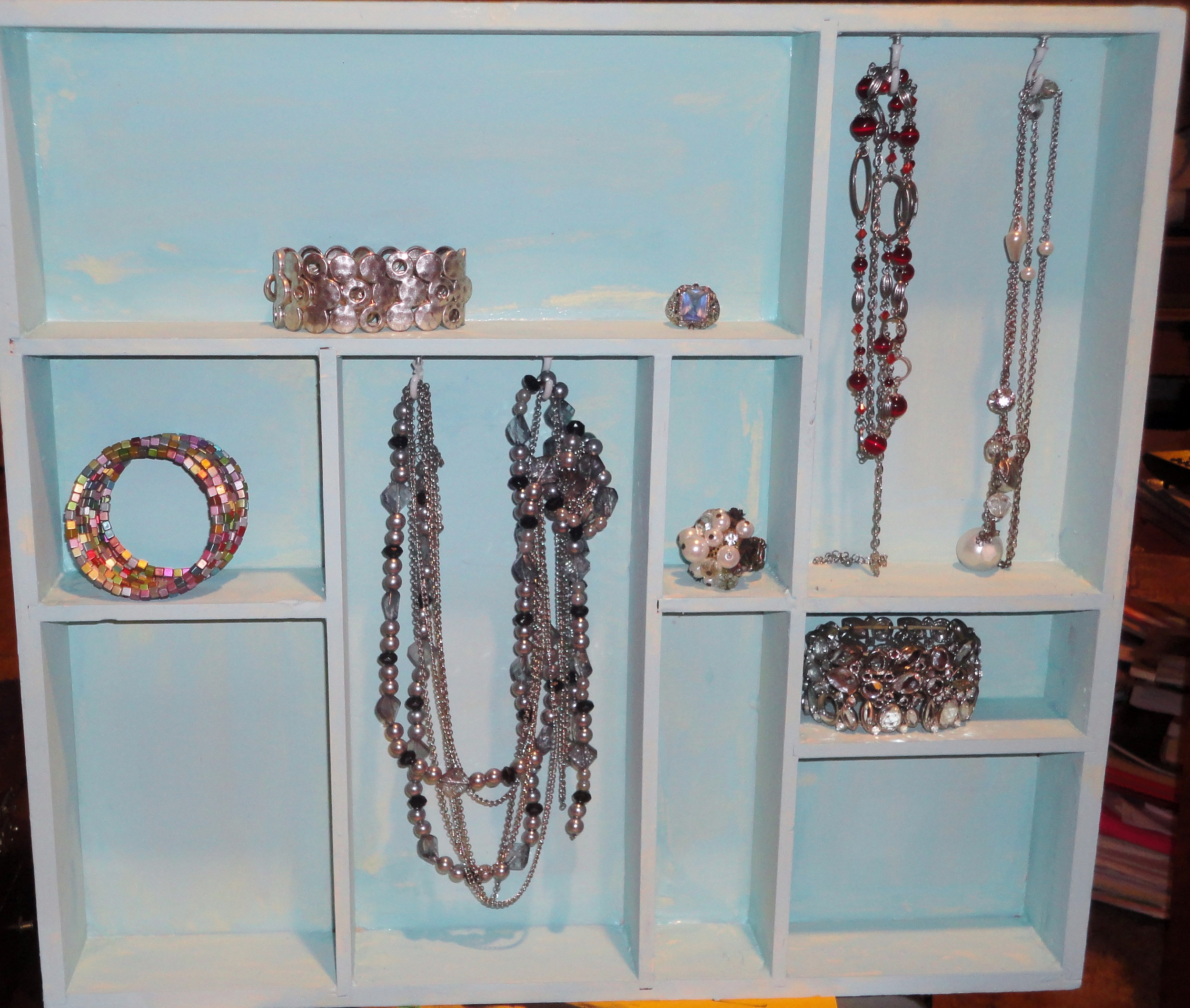 Make a jewelry box out of an old shadow box emandelle65